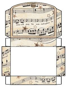 Vintage Sheet Music Free Clipart Biege Tan - Printable Gift Boxes by rosemery. Printable Box, Printable Vintage, Vintage Sheet Music, Vintage Sheets, Envelopes, Making Gift Boxes, Diy Paper, Paper Crafts, Foam Crafts