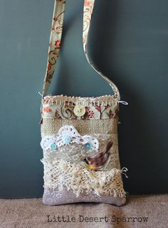 Shabby Cross Body phone pouch Purse Bag by LittleDesertSparrow, $34.00