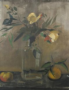 Yannis Tsarouchis (Greek, 1910-1989), Still life of yellow roses and fruit, 1962.