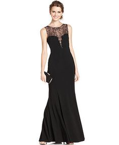 Xscape Sleeveless Beaded Illusion Lace Gown