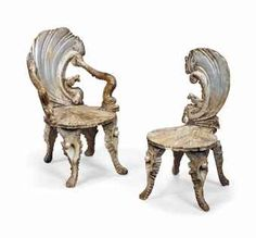 TWO VENETIAN SILVERED AND CARVED GROTTO CHAIRS OF ROCOCO STYLE, LATE 19TH CENTURY