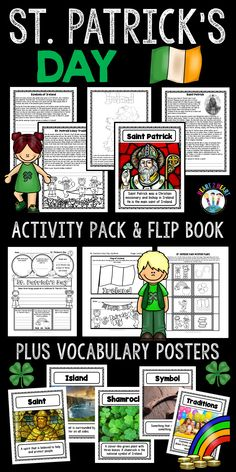 Learn about St. Patrick's Day with this activity pack that is packed full of fun activities that your students will LOVE! Your students will love learning about St. Patrick's Day with this creative resource and flip-up book!  St. Patrick's Day is such a fun and colorful holiday to enjoy with elementary students. In this St. Patrick's Day unit, there's several creative and hands-on student activities depending on the amount of time you have to incorporate them into the day.