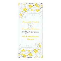 Magnolia flowers yellow, grey wedding Menu card