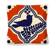 Bird Throw Pillow  Mexican Decorative Tile Design  by arribachica, $38.50