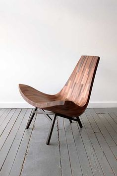 Bellboy Water Tower, a low lounge chair made from reclaimed old growth California Redwood taken from one of those incredible New York City water towers.via designbureau