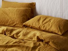 Make a statement with the perfect rich earthy mustard, exclusive to I Love Linen. Shop our beautiful range of pure French linen sheet sets available in King, Queen, Double, King Single and Single sizes and enjoy the widest range of linen colours online. Linen Bedroom, Linen Duvet, Duvet Bedding, Comforter Sets, Bedroom Decor, Mustard Bedding, Mustard Bedroom, Linen Sheets, Bed Sheets