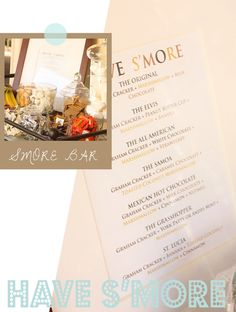 build-your-own s'mores bar: the menu with suggested s'mores combinations is an awesome touch!