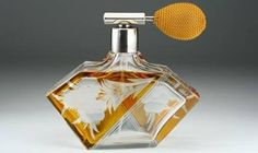 1930s deco flashed scent perfume bottle atomizer spray