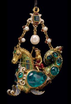 British Museum  Hippocamp pendant. Enamelled gold jewel set with emeralds and pearls. Probably French, early 19th century.