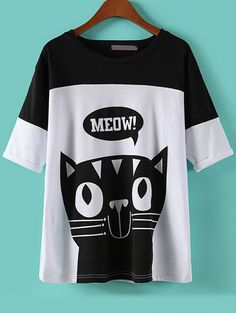 Colour-block Cat Print T-Shirt 8.90