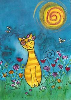 8.5 x 11 inches 21.6 x 27.9 cm. Reproduction  Happy Garden Cat is a laser reproduction printed on card stock from an original silk painting and...