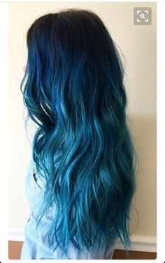 Hair goals dark blue hair dye, blue tips hair, light blue ombre hair, Hair Color Blue, Cool Hair Color, Ombre Colour, Blue Colors, Blue Tips Hair, Color For Long Hair, Hair Color Tips, Long Hair Colors, Bayalage Color