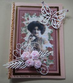 Nostalgische Gruß- oder Glückwunschkarte mit Frauenmotiv in rosa Jewelry, Decor, Pink, Crafting, Woman, Jewlery, Decoration, Jewerly, Schmuck