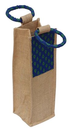 Wholesale Handmade Beige & Blue Color WineBottleHolder / Bag / Wrap in Jute & Cotton Material with Traditional Motifs – Adorned with Twin Handles on the Top – Gifts for WineLovers