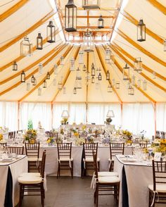 Candlelit lanterns of all shapes and sizes dangled from the top of this sailcloth tent, which was draped in off-white fabric, at Kristel and Austin's East Coast wedding. Wedding Tent Decorations, Tent Wedding, Wedding Receptions, Wedding Ceiling, Dream Wedding, Wedding Fun, Wedding Bells, Tent Reception, Reception Ideas