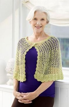 Lacy Crochet Capelet - free pattern @ Red Heart