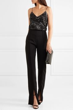 Cushnie - Embellished sequined silk-georgette camisole Black sequined silk-georgette Slips on silk Dry clean New Years Outfit, New Years Eve Outfits, Night Outfits, Camisole Outfit, Jumpsuit Outfit, Suit Fashion, Fashion Outfits, Gothic Fashion, Cocktail Attire For Women