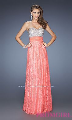 Strapless Beaded Lace Prom Dress by La Femme at PromGirl.com $300 has a light pink