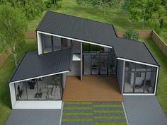 Loft House Design, Villa Design, Roof Design, Small House Design, Architecture Model Making, Modern Architecture, Modern Exterior House Designs, Exterior Design, One Storey House