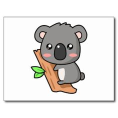 koalas cartoon pics | Cute Cartoon Koala Bear on Eucalyptus Tree Postcard