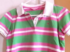 LILLY PULITZER PREPPY STRIPED COTTON SHORT SLEEVE POLO SHIRT SZ. SMALL MINT ! #LillyPulitzer #PoloShirt #Casual