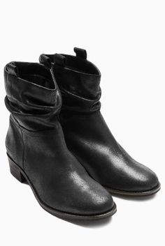 Buy Leather Square Toe Slouch Ankle Boots from the Next UK online ...