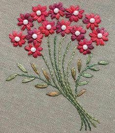 """Képtalálat a következőre: """"embroidery easy flower"""" Hand Embroidery Stitches, Silk Ribbon Embroidery, Crewel Embroidery, Hand Embroidery Designs, Embroidery On Clothes, Embroidery Techniques, Embroidery Kits, Machine Embroidery, Embroidery Scissors"""