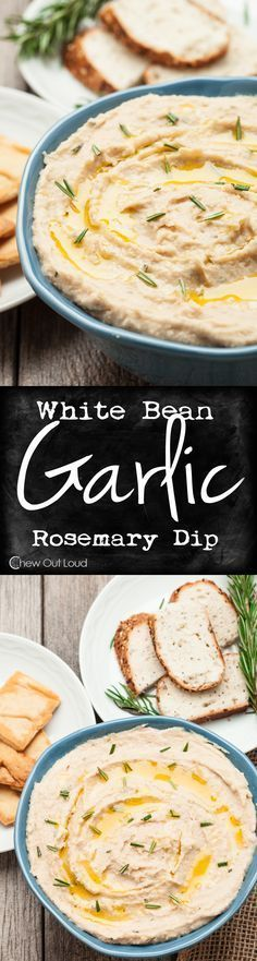 White Bean Garlic Dip - Smooth, creamy, healthy, and scrumptious! Guilt-free appetizer/snack for any party. Great as a sandwich spread, too. #healthy #recipe #appetizer