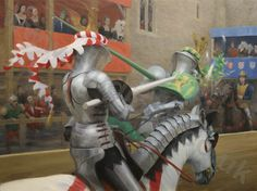 water colors of jousters | Graham Turner's latest large canvas, showing the moment of lance ...