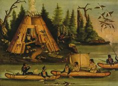 Micmac Indians 1850, Seascape Painting Canoes #Vintage
