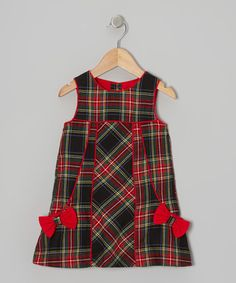 Take a look at this Red & Green Bow Plaid Dress - Infant & Toddler by Alouette on #zulily today!