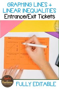 Exit/entrance tickets for graphing lines and linear inequalities. Editable and hands-on learning for Algebra students. Algebra Lessons, Exit Tickets, Math Notebooks, Hands On Learning, High School Students, Life Skills, Special Education, Lesson Plans, Teacher Pay Teachers