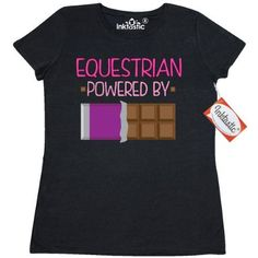 Inktastic Equestrian Funny Gift Women's T-Shirt Horseback Riding Hobby Humor Powered By Chocolate Horses Hobbies Clothing Apparel Tees Adult Hws, Size: XL, Black