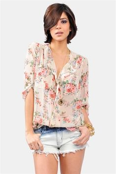 Spring Bloom Top - Taupe