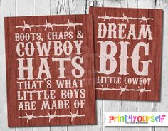 Little Cowboy Art Print // Instant Download 8x10 Printable Red Rustic Cowboy Sign // Dream Big Little Cowboy // Boots, Chaps & Cowboy Hats