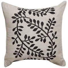 Embroidery Leaves Love Linen Decorative Pillow Cover  #cushions #pillows #decor #pattern #country #homedecor #livingroom