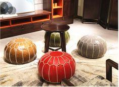 Moroccan Furniture, Furniture Decor, Moroccan Leather Pouf, Moroccan Lanterns, Moroccan Design, Rug Making, Seat Cushions, Decorative Accessories, Ottoman