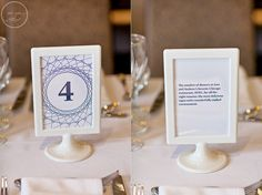 Table Number Ideas with information on the back side. . .Ikea frame!