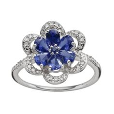 Sterling Silver Lab-Created Sapphire & Diamond Accent Flower Ring