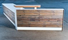 Custom Color and Shape Reclaimed Reception Desk by buschdesign