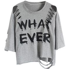 Choies Gray Distressed Bat Sleeve Whatever T-shirt ($9.90) ❤ liked on Polyvore featuring tops, t-shirts, shirts, tees, grey, distressed t shirt, distressed tee, grey tee, grey shirt and gray top