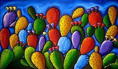 Prickly Pear Cactus Rectangular Fun Whimsical by reniebritenbucher, $52.00