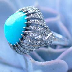 Turquoise retro ring! Something old, something blue!! #vintageinspired #retroring #turquoise #turquoisejewelry #diamonds #bling #artdecoring #somethingblue #somethingold