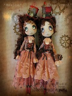 Urchin Art Doll Steampunk twins...Maxine & Millicent by Vicki at Lilliput Loft