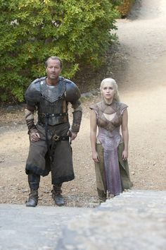 Emilia Clarke as Daenerys Targaryen and Iain Glen as Ser Jorah Mormont in the final episode of Season 2 of 'Game of Thrones'