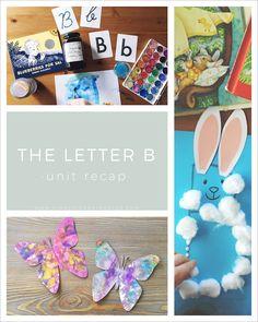Letter B Unit Recap - Simply Learning Preschool Letter M, Alphabet For Kids, Alphabet Activities, Language Activities, Alphabet Crafts, Toddler Activities, Toddler School, Tot School, School Info