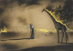 Salvador Dali - Burning Giraffe (gouache on paper, 1937)  Of all his images, I've always loved his burning giraffes... I plan to get one tattooed on my body.