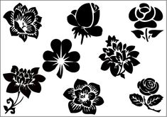 Flower Silhouette Clip Art Pack category: General Vector Graphics