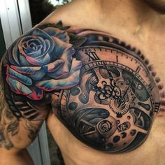 ... tattoos blue rose tattoos chest tattoos for men half chest tattoo men