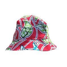 Flower & Orange Kente reversible sun hat - www.MamanGateau.com - 1